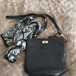 J.CREW soft thick black leather cross body bag